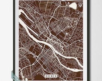 Bremen Print, Germany Map, Bremen Poster, Bremen Map, Germany Print, Street Map, Map Print, Room Decor, Modern Art, Dorm Decor