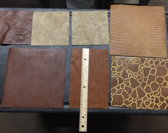 Various pieces of leather - distressed and animal print
