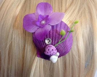 Mermaid hair clip purple flower