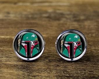 Boba Fett cufflinks, Star Wars cufflinks, Boba Fett jewelry
