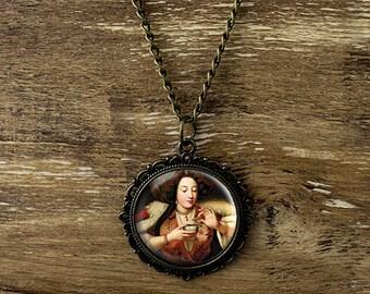 Vintage lady necklace, vintage lady pendant, victorian lady necklace