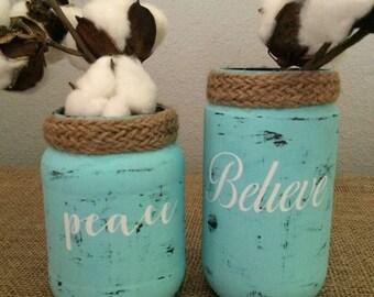 Small aqua jars