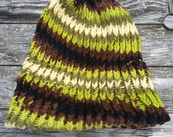 Green loom knitted hat