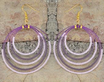 Handmade Pink and Purple Beaded Hoop Earrings
