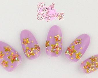 Kawaii Sprinkle Stars with Pastel Lavender Gel Press on Nail Set