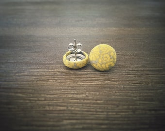 Yellow Floral Earrings. Yellow and Grey Earrings. Handmade Earrings. Fabric Button Earrings. Gifts For Her. Gifts Under 20. Stud Earrings.