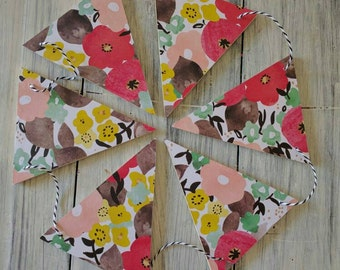 Floral Wood Bunting Flags
