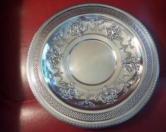 Silverplate 12 inch Platter International Silver Barbara's Platter Pattern 4281 Pierced