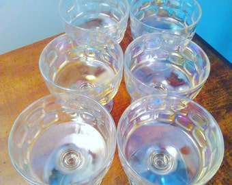 Vintage Iridescent Glass Dessert Cups Set of Six
