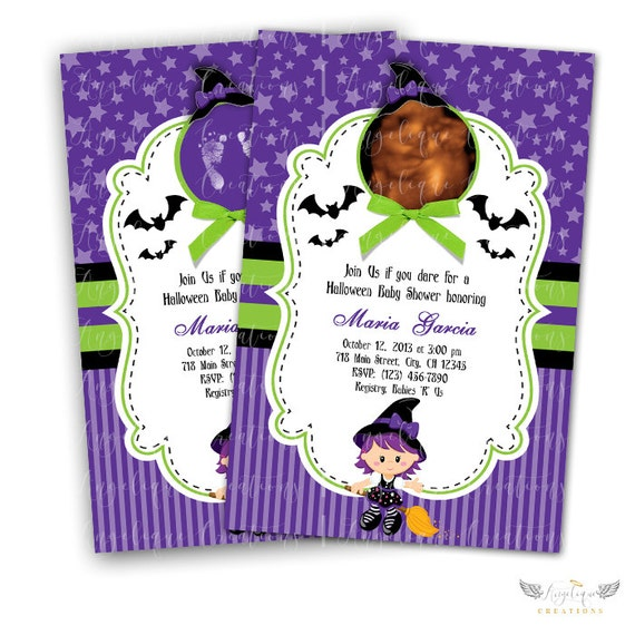 Purple Witch Halloween Invitations & Blank Thank You Card to match