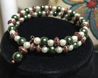 Olive and Ivory with a Touch of Bronze, Wire Wrap Bracelet