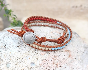 Leather Wrap Bracelet Southwest Design
