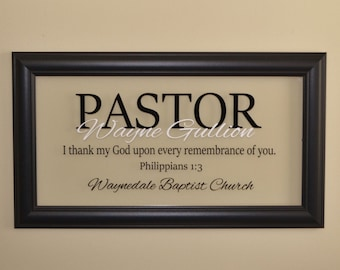 Pastor Gift Pastor Appreciation Wall Decor Minister Gift Personalized Pastor Gift Religious Art Christian Wall Decor Glass w/3 Line Text
