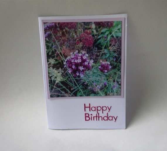 Birthday Card with Pink and Purple Flowers - #562