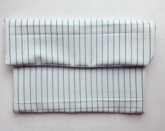 Green Stripe Clutch Bag