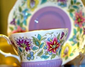 Royal Albert Bone China England Jacobean pattern Tea Cup and Saucer