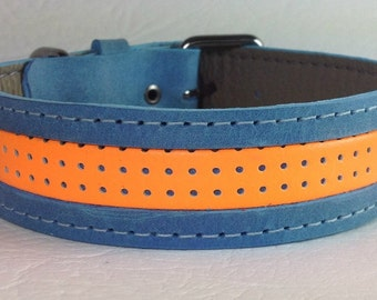 Blue & Orange Leather dog collar