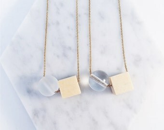 Trendy Necklace- Wooden Cube & Globe
