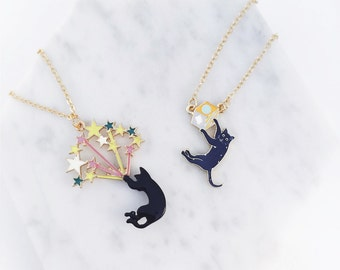 Black Cat Kitten Colorful Necklace; black cat necklace; cat accessories, cute cats
