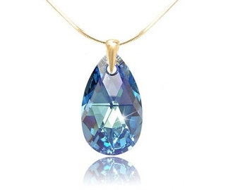Swarovski Crystal Pendant Sterling Silver / yellow Gold Aquamarine  22 mm