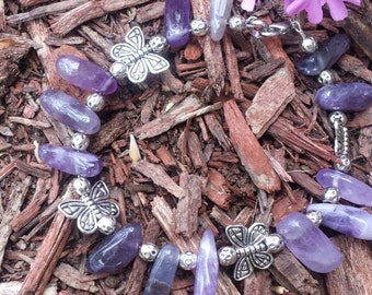 8-inch Amethyst And Butterfly Bracelet