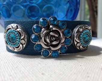 Teal Leather Cuff Bracelet