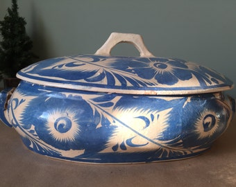 Vintage Hand-Painted Mexican Casserole