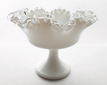 Vintage Fenton Silver Crest Footed Compote - Double Crimp Ruffled Milk Glass Candy Dish - Wedding Decor