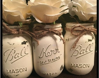 Set of 3 Handmade distressed mason jars, rustic home decor