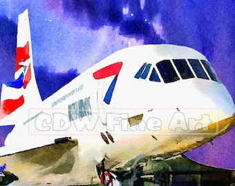 British Airways Concorde - Limited Edition Art Print of my Original Water Colour Painting