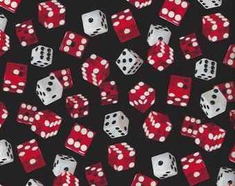 Dice-Red,White on Black Timeless Treasures