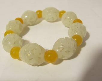 Spacial  White Jade hand Carving bracelet