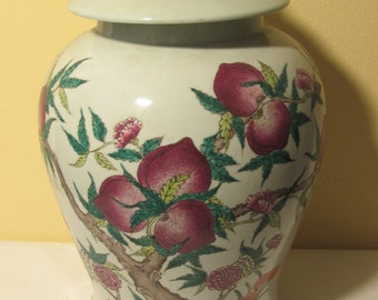Vintage Chinese Ginger Jar with Peaches