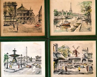 Vintage set of 4 French Watercolour Prints