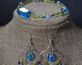 Earrings and Bracelet Set. Blue and Green Glass Beads.