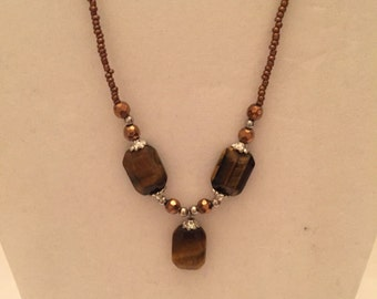 Tiger Eye Beaded Necklace