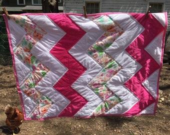 Homemade chevron baby quilt, crib sized, baby girl