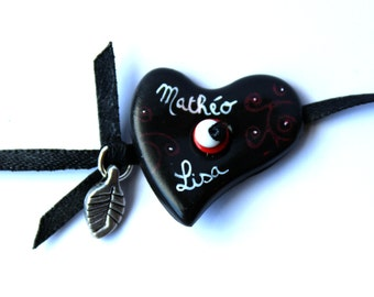 Bracelet personalized with first name a black and red heart Medallion
