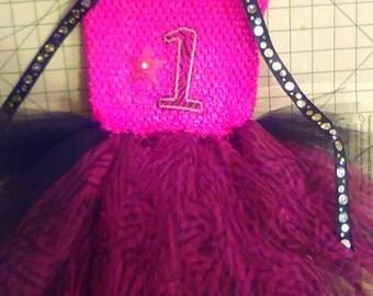 Hot Pink Zebra Print Star 1st Birthday Tutu Dress w/spaghetti tie