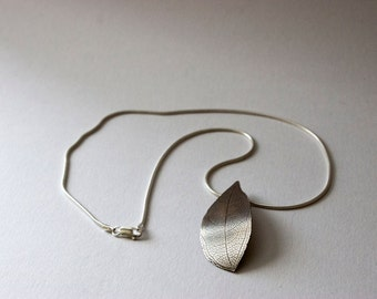 Silver leaf necklace: Handmade, sterling silver