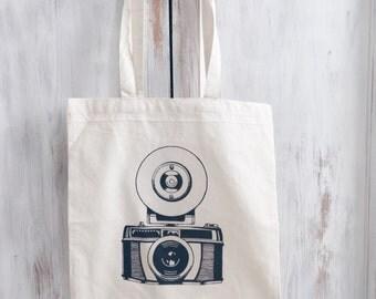 Cotton Canvas tote bag photography camera
