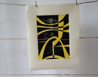 Linocut print abstract