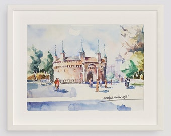 Krakow Barbican Original Watercolor Painting 15.5 x 11 inches