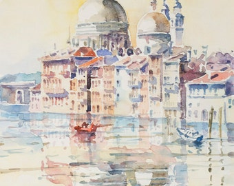 Sunny Venice Original Watercolor Painting 11 x 15.5  inches