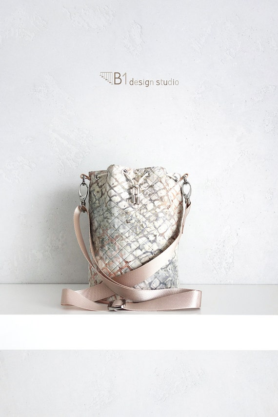 Batik Bucket Bag, Bridesmaid Bucket Bag, Leather Bucket Bag, Cotton Crossbody Bag, Flagstone, Gift for Her