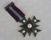 Maltese Cross Brooch - Vintage Medallion Pin - Faux Pearl and Paste Brooch - Faux Gemstone Topaz Blue and Amethyst Purple Rhinestones
