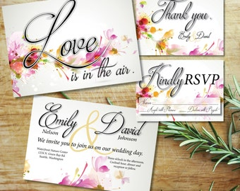 Love is in the Air-2-sided Wedding Invitation RSVP & Thank You Card. Flower Invite Kit. Modern, Elegant Printable Wedding Invitation Suite.