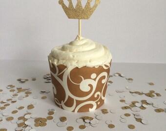 Glittery Gold Crown Cupcake Topper