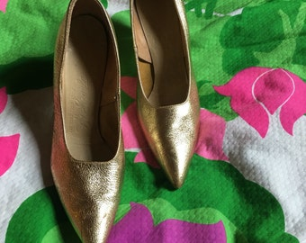 60's Di Scarla Gold Metallic Custom Italian Leather Pumps