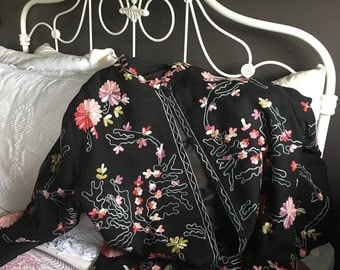 Embroiderd Black Soft Wool Blend Jacket